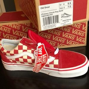 VANS Old Skool red check with white